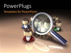 PowerPlugs: PowerPoint template with magnifying glass hovering around a group of people with brown color