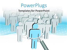 PowerPlugs: PowerPoint template with magnifying glass hovering over group of 3D men with blue colored leader