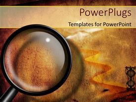 PowerPlugs: PowerPoint template with a magnifying glass and a lot of sand