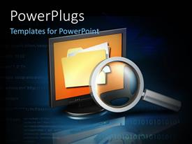 PowerPlugs: PowerPoint template with a magnifying glass with a monitor and bluish background
