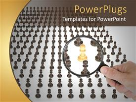 PowerPlugs: PowerPoint template with a magnifying glass and a number of chess pieces