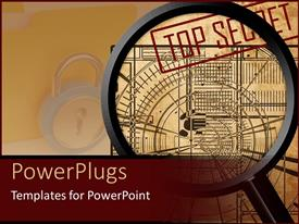 PowerPlugs: PowerPoint template with a magnifying glass over some images and a padlock on the background