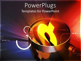 PowerPlugs: PowerPoint template with a magnifying glass over looking a golden dollar symbol