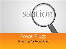 PowerPlugs: PowerPoint template with magnifying glass over the solution word with grey color