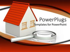 PowerPlugs: PowerPoint template with magnifying glass placed beside white three dimensional bungalow