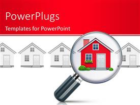 PowerPlugs: PowerPoint template with magnifying glass searching for dream house among various houses with red color