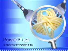 PowerPlugs: PowerPoint template with magnifying glass showing spaghetti rolled on two forks on a striped light and dark blue background