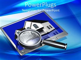 PowerPoint template displaying magnifying glass on silver tablet showing picture of white duplex