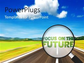PowerPlugs: PowerPoint template with magnifying Glass with the word focus on the future with road and sky