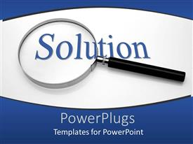 PowerPlugs: PowerPoint template with a magnifying glass with the word solution