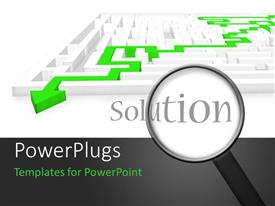PowerPlugs: PowerPoint template with a magnifying glass and the word solution with a maze in the background