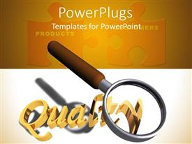 PowerPlugs: PowerPoint template with magnifying glass with written word quality puzzles showing products and consumers