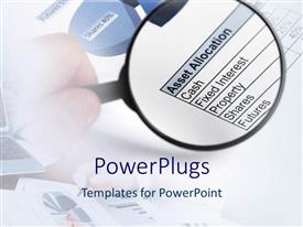 PowerPlugs: PowerPoint template with magnifying lens highlighting document on asset allocation in white background