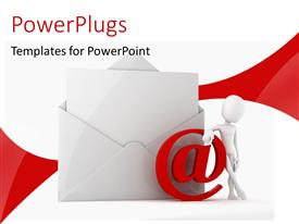 PowerPoint template displaying a mail being opened by a person