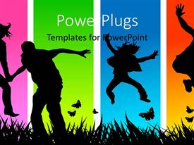 PowerPlugs: PowerPoint template with various people enjoying with colorful background