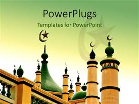 PowerPlugs: PowerPoint template with a majestic green and cream colored built mosque with designs