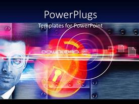 PowerPlugs: PowerPoint template with a mal staring and a padlock with a river view