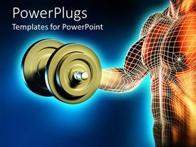 PowerPoint template displaying male body lifting dumbbell weight, muscle, strength, exercise, fitness