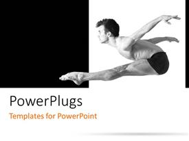 PowerPlugs: PowerPoint template with male dancer with athletic body performing stunt on black and white background