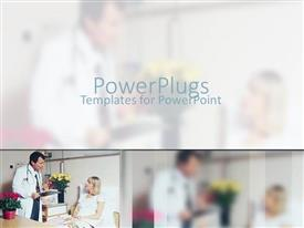 PowerPlugs: PowerPoint template with a male doctor attending to an elderly female patient
