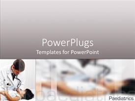 PowerPlugs: PowerPoint template with male doctor holds little girl's hand while listening with stethoscope