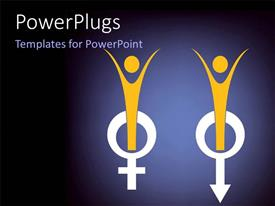 PowerPoint template displaying a male and a female sign with bluish background