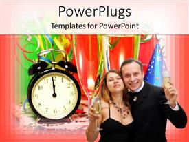 PowerPlugs: PowerPoint template with a male and a female smiling together holding glass cups