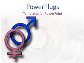 PowerPlugs: PowerPoint template with male and female symbols on a faded patterned background