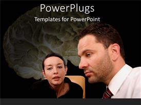 PowerPlugs: PowerPoint template with male and female talking with a human brain diagram