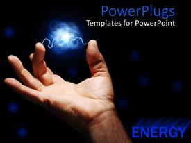 PowerPoint template displaying male hand with blue electrical current between fingers on black background, energy