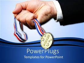 PowerPoint template displaying male hand holding a medal with blue colored background