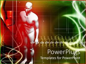 PowerPoint template displaying male human body multi color background