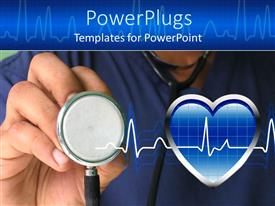 PowerPoint template displaying a male nurse ready to check heartbeat with strethoscope