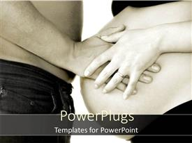 PowerPoint template displaying a male putting his hand on her pregnant partner's belly