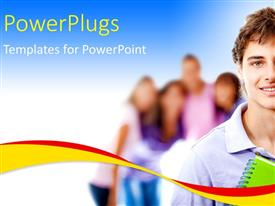 PowerPlugs: PowerPoint template with a young smiling man with some people on the background