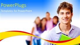 PowerPoint template displaying a young smiling man with some people on the background