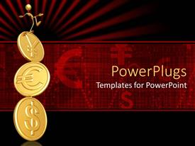 PowerPlugs: PowerPoint template with man balancing on gold dollar, euro and Yen coin