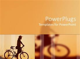 PowerPoint template displaying man with bike admiring the view bicycle travel faded biker