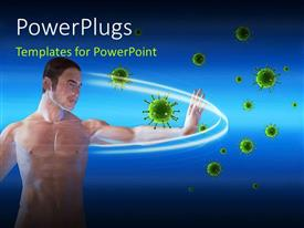 PowerPlugs: PowerPoint template with a man blocking viruses over a blue background