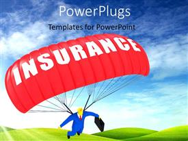 PowerPlugs: PowerPoint template with man in blue suit holding briefcase with red Insurance parachute