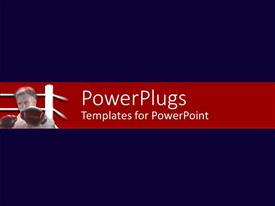 PowerPlugs: PowerPoint template with a man in a boxing ring with a deep blue background surface