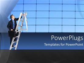 PowerPoint template displaying a man with a briefcase climbing a short ladder`