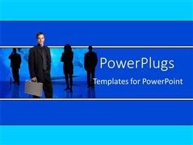 PowerPoint template displaying man with briefcase in front of silhouettes of team