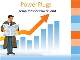 PowerPlugs: PowerPoint template with man in brown trench coat and blue suit reading newspaper in front of business chart