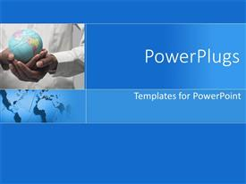 PowerPlugs: PowerPoint template with man carrying globe in hands with blue background