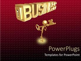 PowerPlugs: PowerPoint template with man carrying key to business on shoulders on wine patterned background