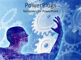PowerPlugs: PowerPoint template with man with circuit board as skin with gears in background
