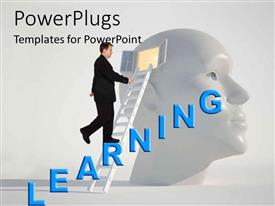 PowerPlugs: PowerPoint template with man climbing ladder into open window into man's head