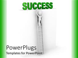 PowerPlugs: PowerPoint template with man climbing ladder to success on white background with green frame