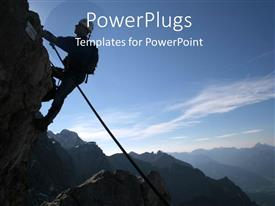 PowerPlugs: PowerPoint template with man climbing mountain with back pack and waist rope